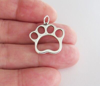 Outline Sterling Silver Charm - Sterling Silver Paw outline charm