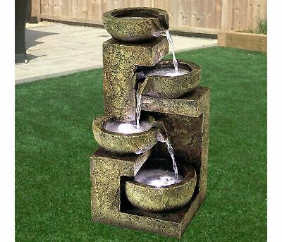 4 Tier Indoor Outdoor Polyresin Garden Water Feature Fountain LED Lights Decor