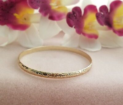 - 6mm Gold Hawaiian Heirloom Bangle Bracelet Size 9