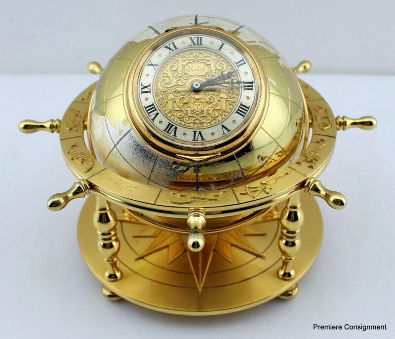 Imhof Desk Clock Globe Zodiac Symbols Mariner Star 15 Jewels 8 day going