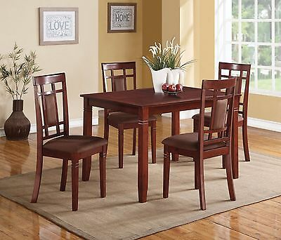 Modern Wooden Cherry Finish Table Chair Chocolate Microfiber 5pc PK Dining Set