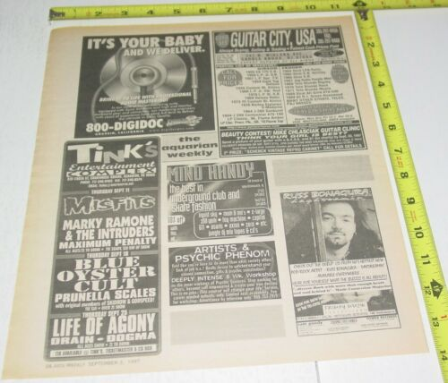 Blue Oyster Cult Misfits Concert AD Advert 1997 Tour Tink