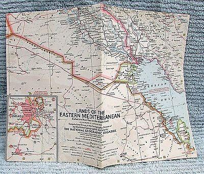 Old 1959 National Geographic Vintage Map Lands of Eastern Mediterranean FREE S/H