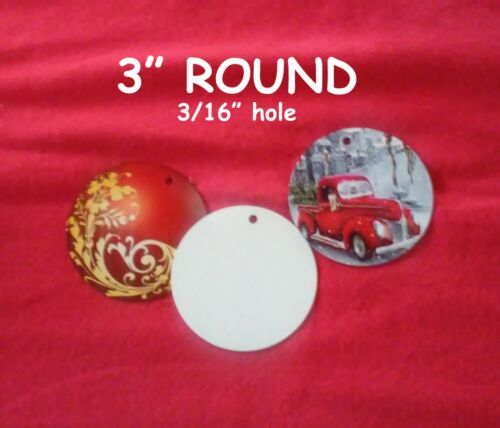 """3"""" Blank Aluminum Sublimation Discs with 3/16"""" Hole for Hanging $0.48 each 50PCs"""
