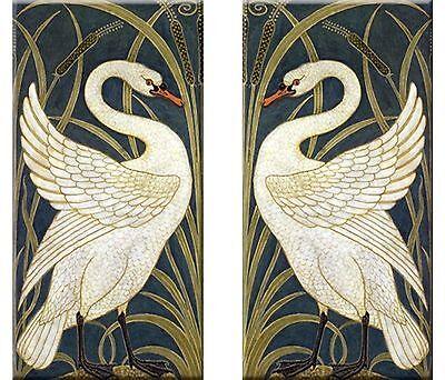 Set of 2 Art Nouveau ceramic wall tile 3 X 6 Inches #41