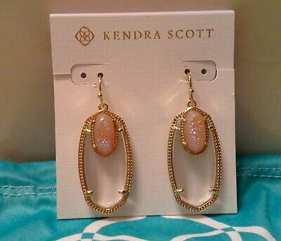 5b834a3a2 NWT Kendra Scott Gold 'ELLE' Earrings in Clear Glass~Iridescent  Drusy~$100~RARE!