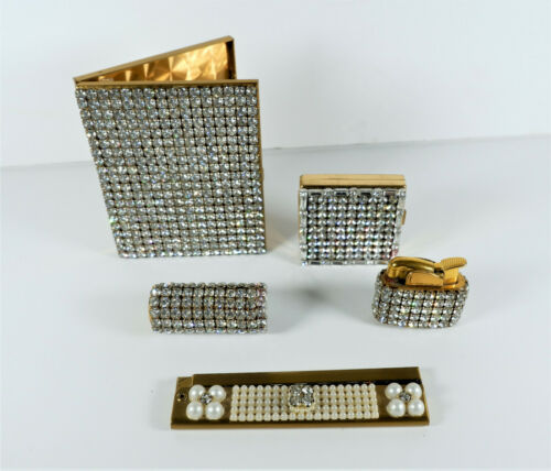 Trickettes 1950's Clear Rhinestone Evening Set Cigarette Compact Lipstick Comb