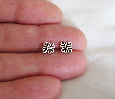 Sterling Silver 8mm Celtic shamrock hearts post stud earrings