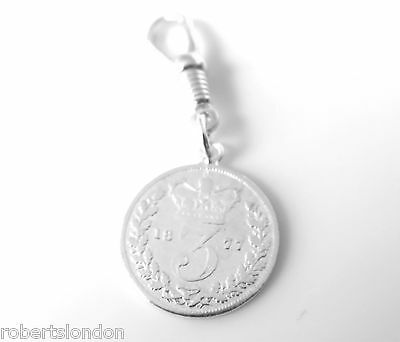 Sterling Silver 1877 Three Pence Coin Pocket watch or Albert Chain Fob Charm -