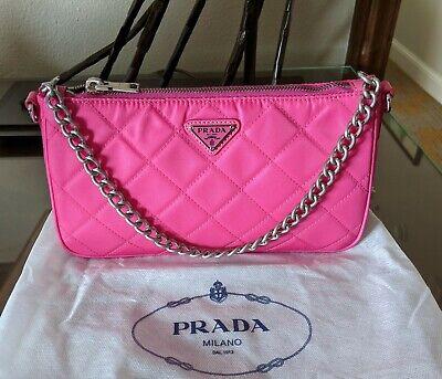 Prada Tessuto Fuxia Pink Quilted Nylon Bandoliera Cross Body Bag 1BH026