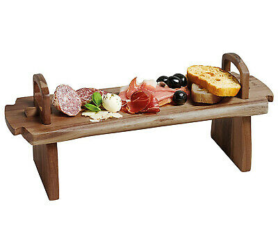 Wooden Raised Serving Platter Board for Antipasti, Tapas, Entrees and Desserts