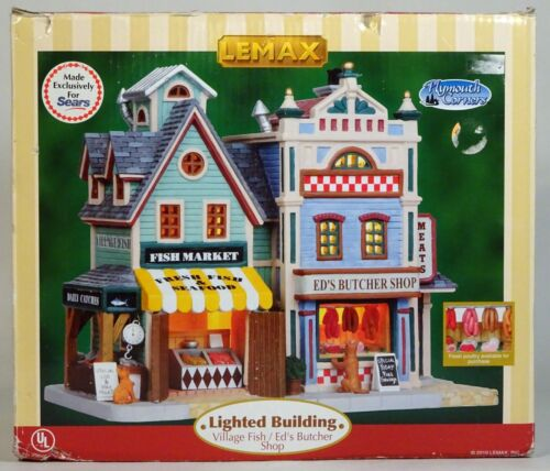 LEMAX PLYMOUTH CORNERS Lighted Building, Village Fish - Ed