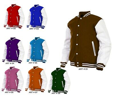 Mens Varsity Jacket Real/Faux Leather Sleeve and Wool Letterman College -