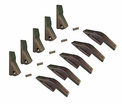 5 - Mini Excavator Backhoe Skidsteer Weld On Shanks 23hd Fab Teeth W Pins