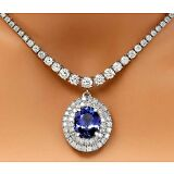 10.48CTW NATURAL TANZANITE AND DIAMOND NECKLACE IN 18K WHITE GOLD