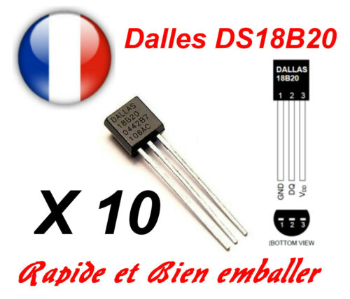 10 X Dallas DS18B20 1-Draht Digital Thermometer TO-92