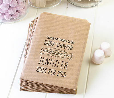 Personalised baby shower paper bags - brown ribbed kraft favour party sweets