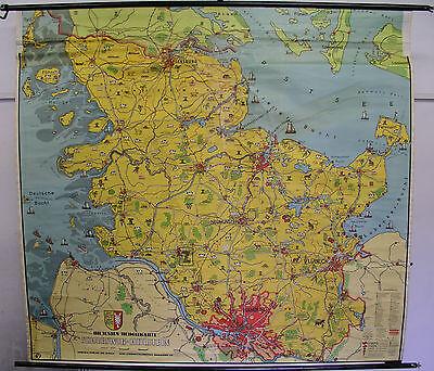 Schulwandkarte Wandkarte Karte Schleswig-Holstein Heimatkarte 100T 197x182 map