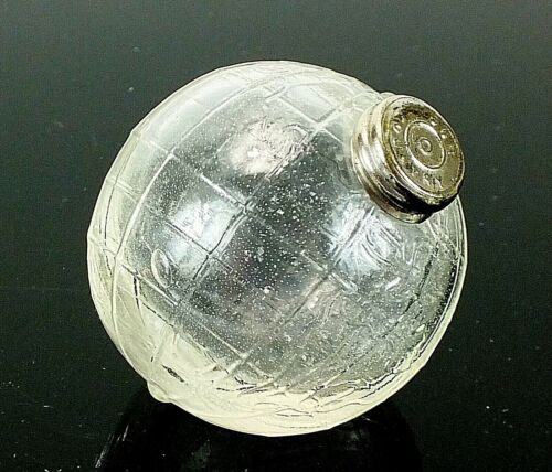 Antique Vintage OUR COUNTRY Clear Glass Miniature Candy GLOBE WORLD EARTH BALL