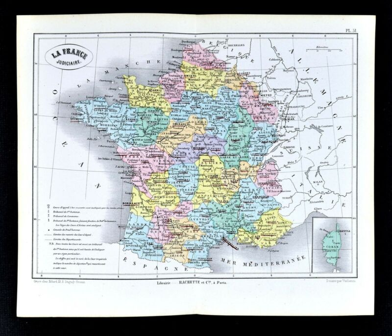 1877 Vuillemin Map - La France Judiciaire - French Judiciary Districts Tribunals