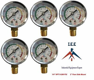 New 5 Pack 14 200 Psi Air Compressor Pressurehydraulic Gauge Side Mount Gauge