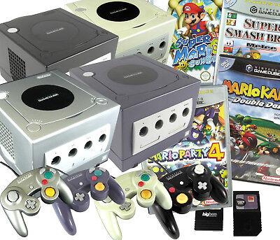 Nintendo GameCube Konsole mit Controllern und Spielen: Mario Kart, Smash Bros...
