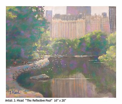 """J. Mead Original Oil Painting """"The Reflective Pool"""" Sale Big Discount 75% Off!!"""