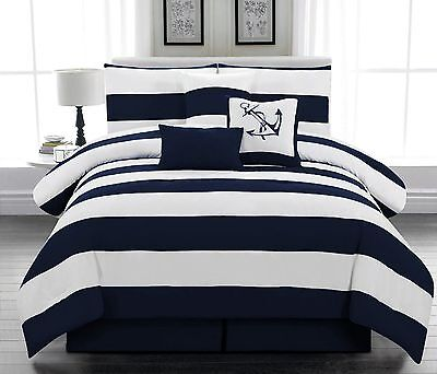 7 pcs Microfiber Nautical Comforter set Navy Blue Striped Full, Queen, (Blue Queen Comforter)