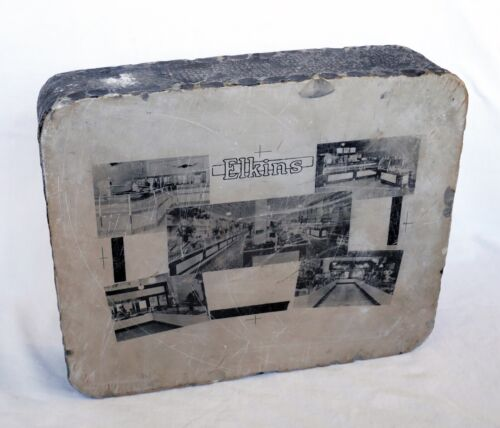 Antique Lithograph Stone Steel Iron Elkins Grocery Store Artist Printmaking