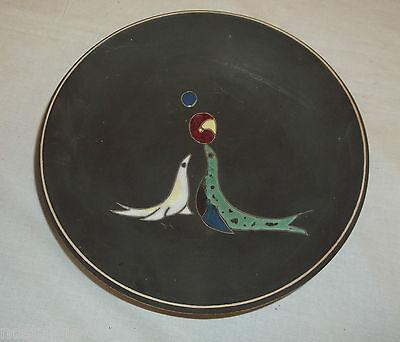 Wandteller Keramikteller schwarz Seehunde Handarbeit Zierteller  rare