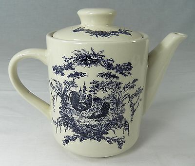 California Pantry TEAPOT Blue Country French Toile Rooster Hen Ceramic 2002