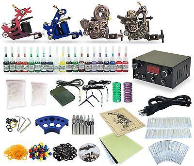 Complete Tattoo Kit 4  Machine Guns Equipment Power Supply 20 Colors TK-28