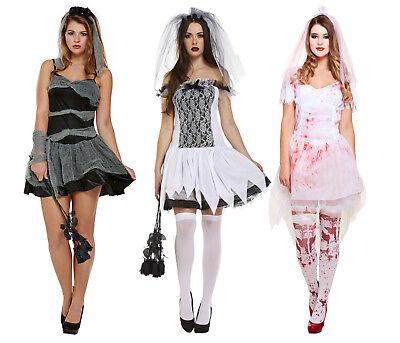 Braut Leiche Kostüme (Halloween Damen Zombie Braut Kostüm Dunkel Geist Untote Leiche Damen Kostüm)