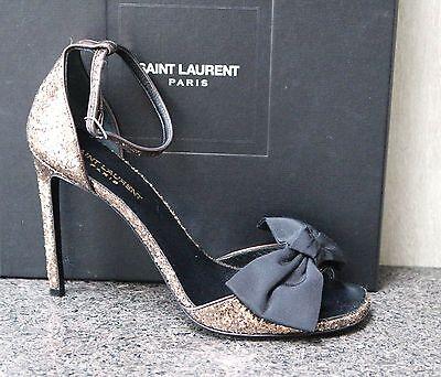 NIB YSL Saint Laurent JANE 105 GALACTICA BRUN GLITTER BLK BOW SANDALS Shoes 39