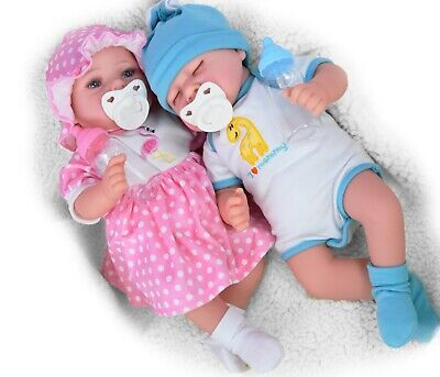 "Reborn Baby Realistic Handmade Sleeping Open Eyes 17"" Girl Boy Doll Dummy Bottle"