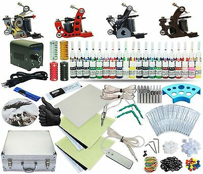 Complete Tattoo Kit 4 Machine Set Equipment Power Supply 40 Color Inks TKA-5-4