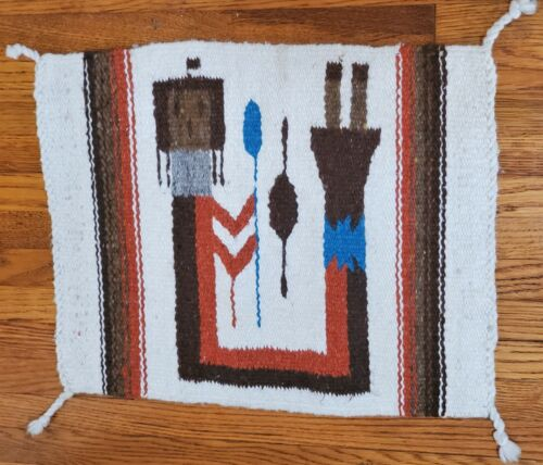 Navajo Style Rug Wall Hanging Yei Rainbow Man Native American Indian Southwest