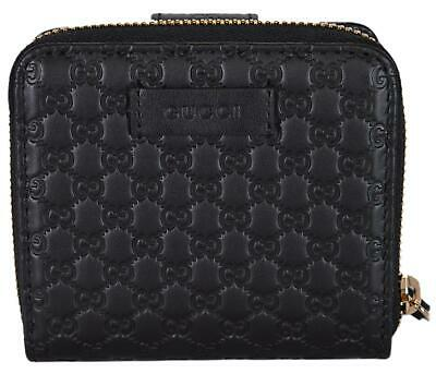 New Gucci Women's 449395 Black Leather Micro GG Guccissima French Wallet