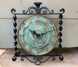 VTG Danish Wrought Iron Wall Clock Scrolls Side Swirl Plume NEW QUARTZ MOVEMENT