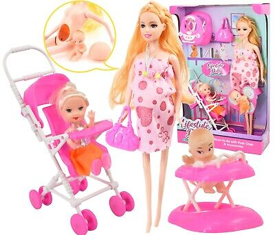 "11"" Pregnant Doll with Little Girl in a Stroller & Newborn Baby Doll in a Walker"