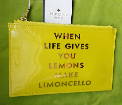 Kate Spade New York Limoncelo Pencil Pouch Cosmetic Bag lemon mother's day gift