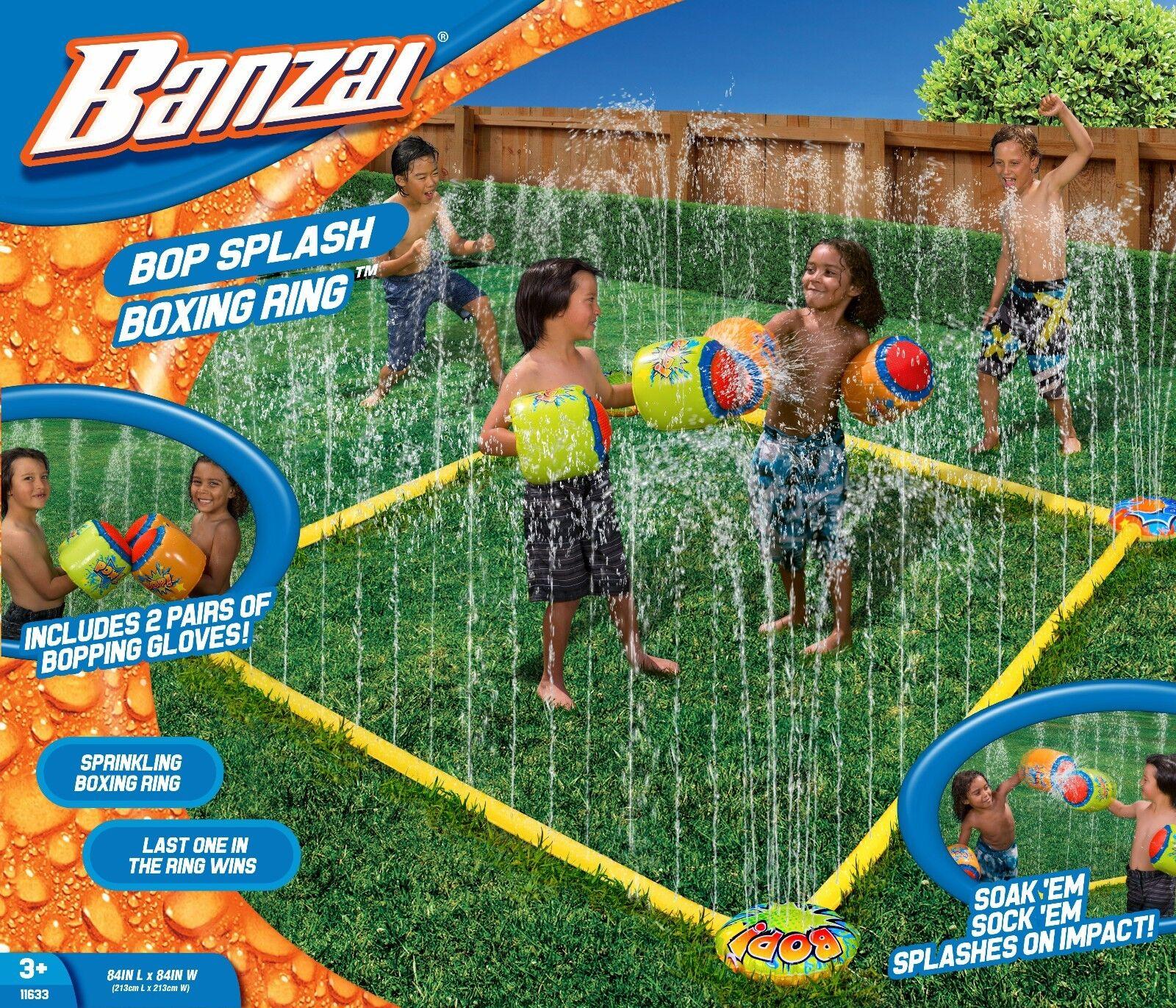 Banzai Bop Splash Water Sprinkler Boxing Ring w/ 2 Pairs Inf