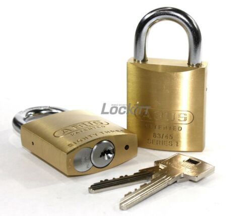 ABUS 83/45 Brass 83 Series Keyed Alike Padlock Set (2 locks)