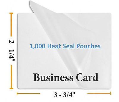 Premium 5 Mil Business Card Size Heat Seal Laminating Pouches 1000 2.25 X 3.75