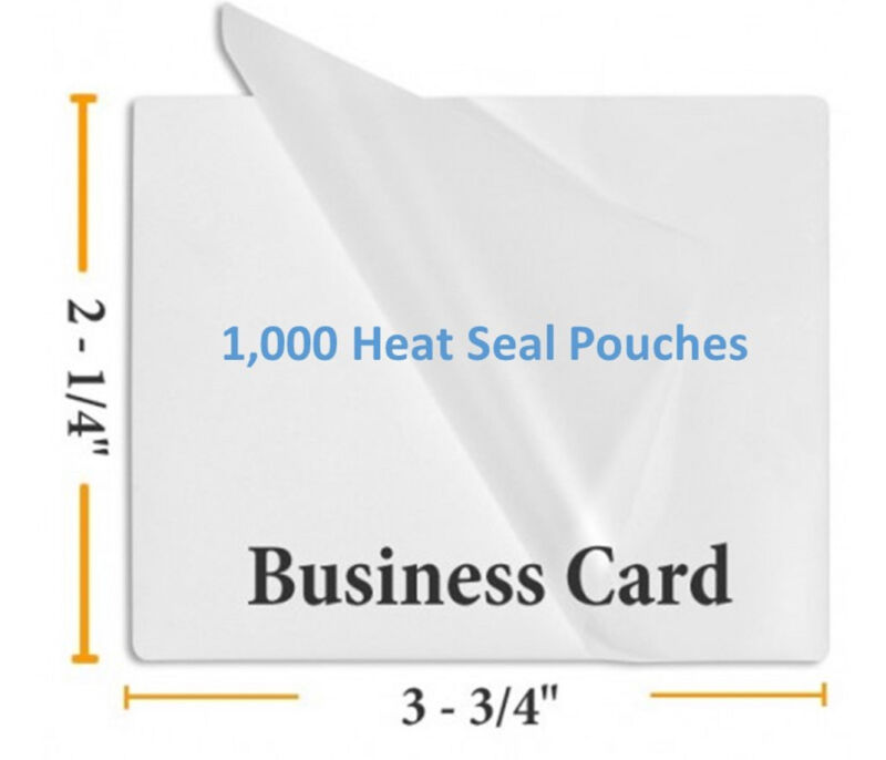 5 Mil Business Card Size Heat Seal Laminating Pouches, 2.25 x 3.75 inches, 1000