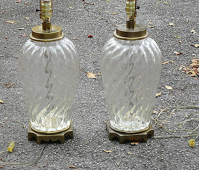 RARE PAIR OF 60s MCM PAUL HANSON FLUTED GLASS TABLE LAMPS on BRASS -