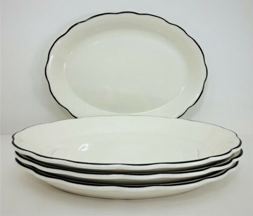 4 Buffalo China Manhattan Black Oval Steak Plates Dinner Restaurant Ware