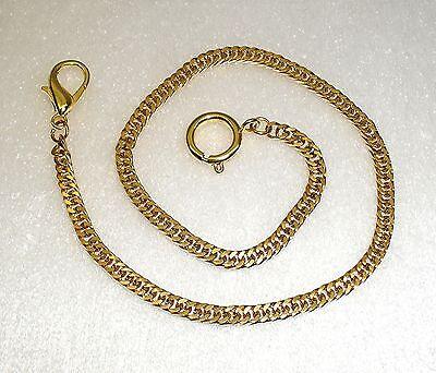 Feine Taschenuhrkette Kette f. Taschenuhren  Edelstahl vergoldet 30 cm Neu (g10)