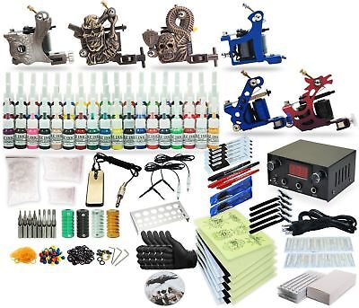 Complete Tattoo Kit 5 machine Gun 54 Color Inks Power Supply tk-33