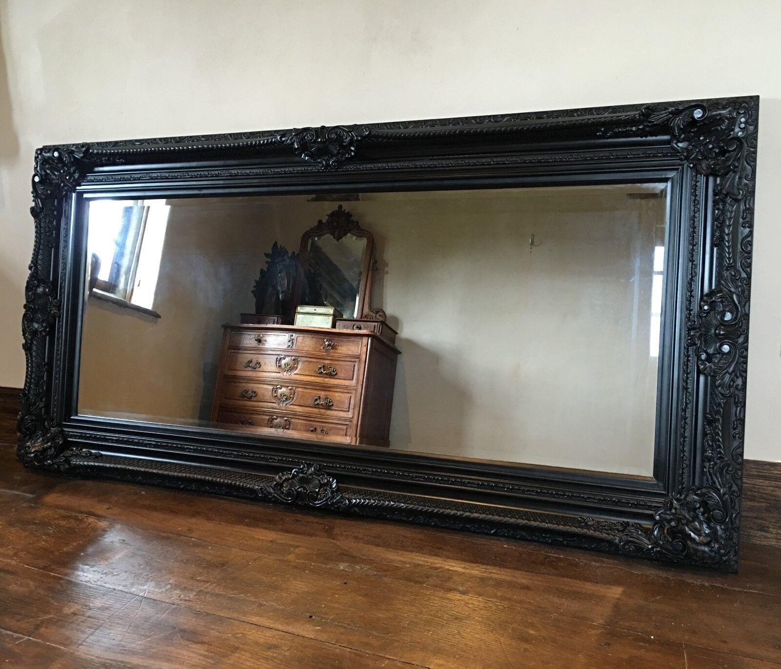 Black Ornate Large French Statement Overmantle Swept Dress Floor Wall Mirror 6ft Ebay